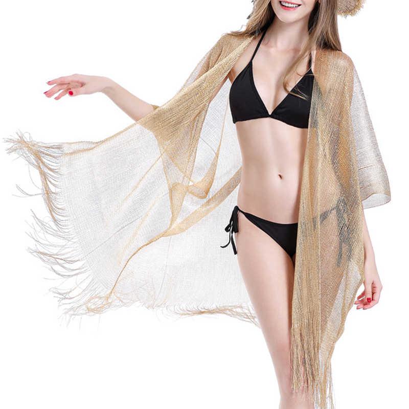 Gland or bikini couvrir Sexy plage robe tuniques pour maillots de bain femme 2020 été voir à travers maillot de bain couvertures caftan nouveau