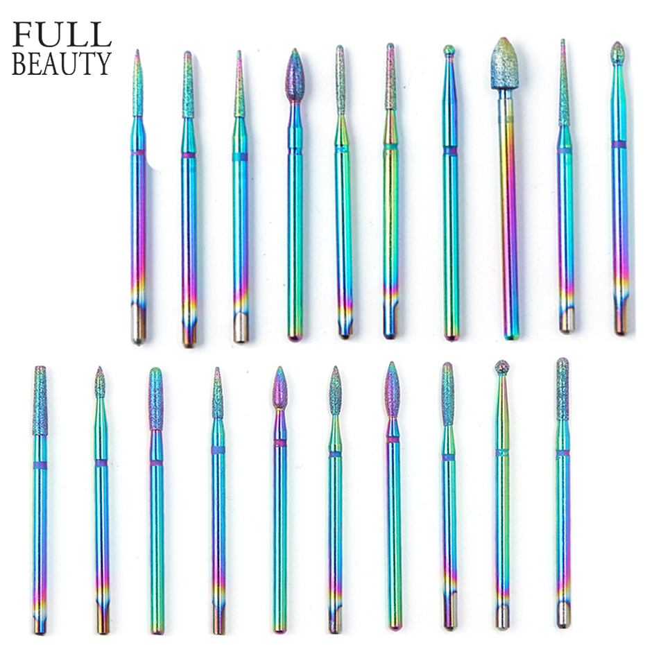 1pc Milling Cutter For Manicure Nail Drill Rainbow Diamond Manicure Machine Pedicure Electric Nail Drill Bits Accessories CH1514