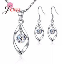 Women New Fashion Charm Jewelry Sets 925 Sterling Silver Dubai Jewelry Accessory Geometric Pendant Earrings Necklaces Wholesale(China)