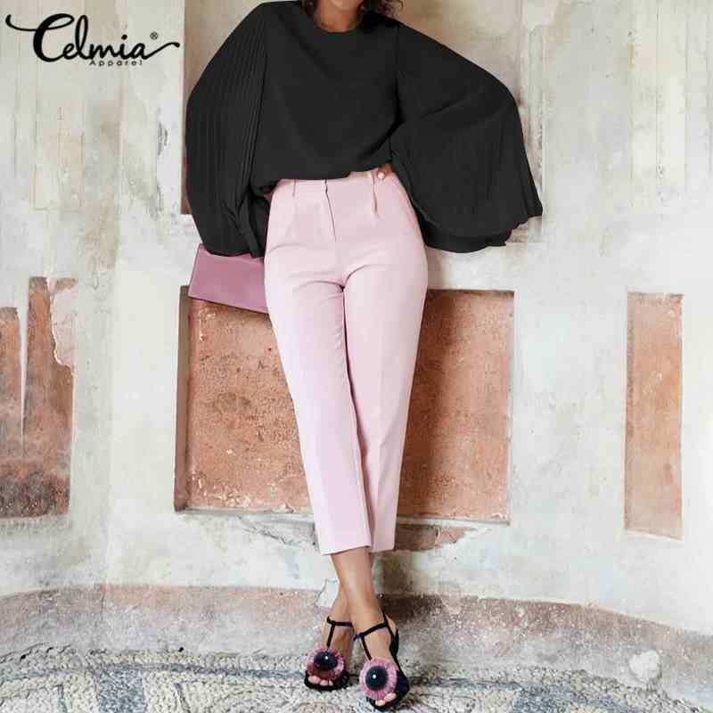 2020 Celmia 女性ファッションブラウス秋のロングフレアスリーブカジュアルシフォンシャツ女性のエレガントなプリーツオフィス Blusa プラスサイズトップ