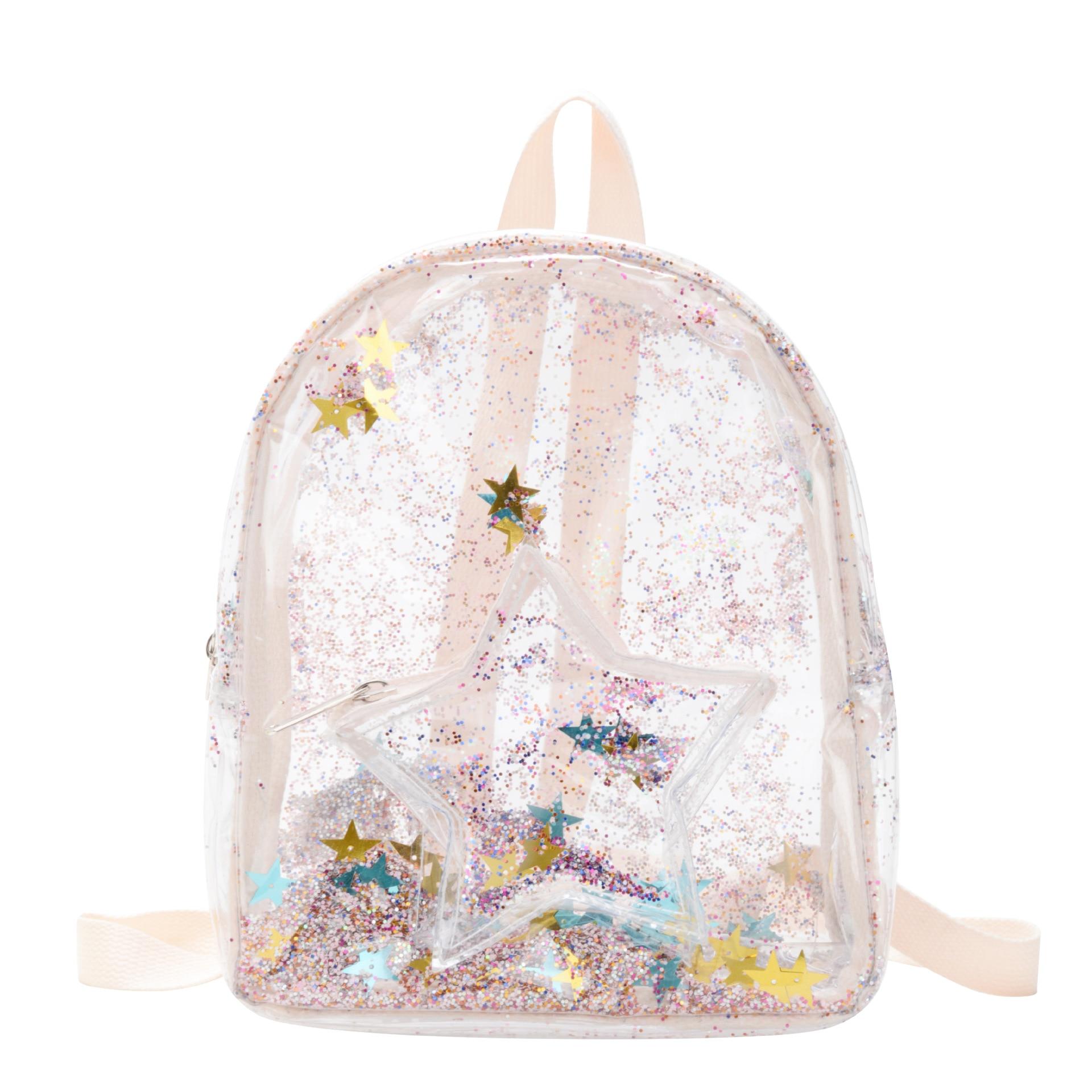 New 2020 Kids Mini Backpack Purse PVC Shinny School Bags For Girl Kawaii Transparent School Backpack Bag Baby Back Pack