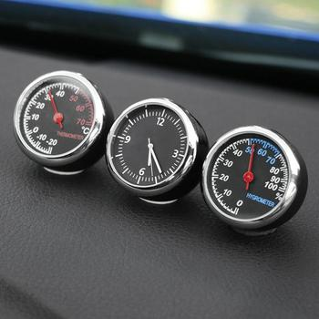 Car Interior Mini Quartz Watch Clock Hygrometer Thermometer Dashboard Ornament Car Interior Decoration ABS + Steel + Glass car clock ornaments auto watch air vents outlet clip mini decoration automotive dashboard time display clock in car accessories