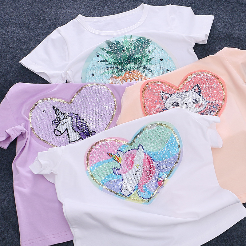 Summer Cotton T-shirt Girls Tops Child Change Color Discoloration Sequins Kids Baby Shirts Cat Unicorn Tops Toddler Sweatshirt image