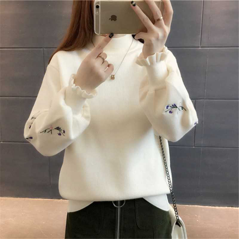 2019 Winter Autumn Spring Women Sweater Knitted Turtleneck O-Neck Tops Long Sleeve With Lantern Sleeve Fashion Embroidery