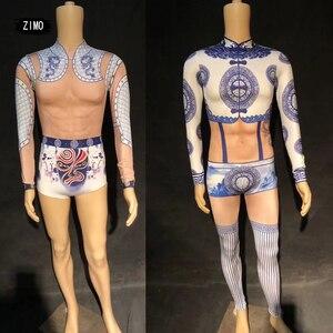Bodysuit festa boate macacão sexy falsa perspectiva muscular corpo terno ds estilo chinês homem desempenho traje jazz dancewe