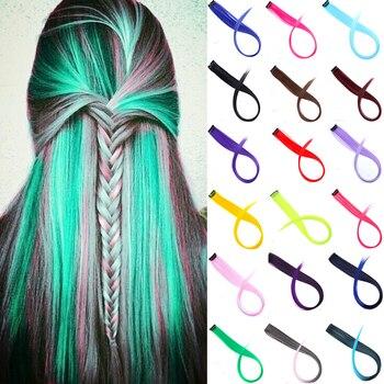 Lupu длинные прямые цветные волосы для наращивания синтетические цветные заколка для волос для девочек натуральные радужные волосы 22 дюйма