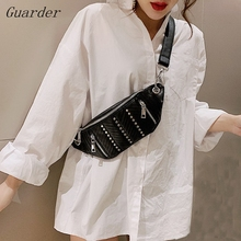Guarder New Brand Waist Bags PU Leather Shoulder Rivet Chest Zipper Fanny Package Pack Women Banana Bag GUA0013