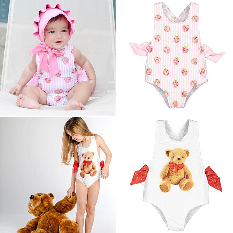 Beautiful Toddler Girl Swimming Suit Swim Wear Brand Children Strawberry Bear Pattern Bow Tie Swimsuit Kids Fashion Beach Wear
