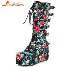 Karinluna/Новое поступление, большие размеры 33-46, туфли на танкетке, высокие каблуки пряжки, женские ботинки, женские сапоги до середины икры на платформе, женская обувь