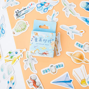 46 Pieces/Box Planes Sticker Children Innocence Era Series Japanese Style DIY Hand Curtain Sticker Decorative Seal Stationery image
