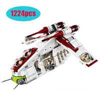 75021 Marvel lepining Star Wars 79211 Republic Gunship Set dzieci edukacyjne do budowania bloki cegły świąteczne prezenty dla chłopców prezent