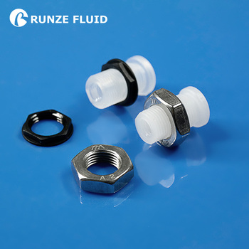 PP PTFE Bulkhead Union Plastic Tube Connector Female 1/4-28 Male M12 with SST ABS nut High Cost Performance Best Seller in China