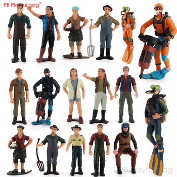Playful bag Sandplay Simulation miniature doll Toy figure Little people figurine Diver Farmer Policeman Creative ornaments HG10 image