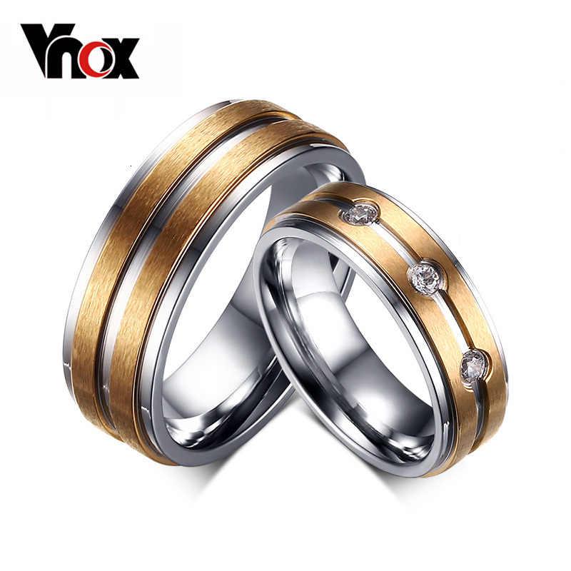 Vnox 2 шт./лот Пару Кольцо для Для женщин и Для мужчин золото-цвет Нержавеющая сталь Обручение кольцо Свадебные украшения