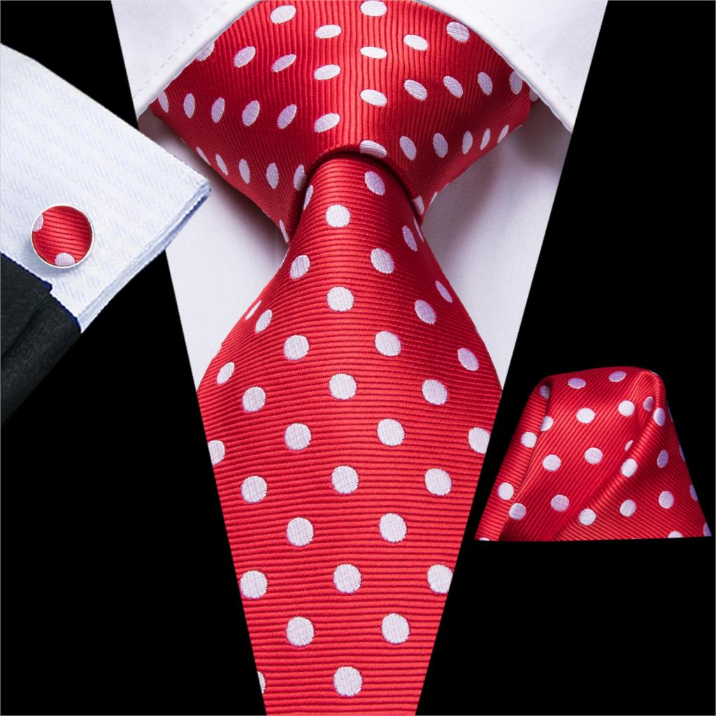 Hi-Tie Red Dot Tie Fashion Design Deer Elk Pattern Ties For Men 100% Silk High Quality Men's Male Tie Hanky Cufflinks Set