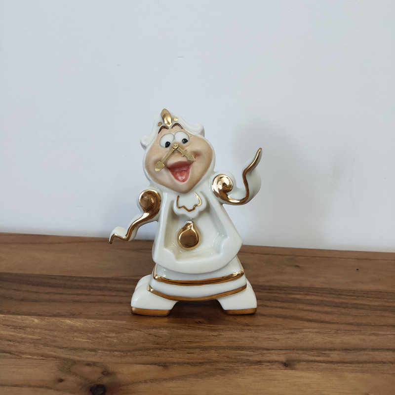 Cartoon Beauty And The Beast Teapot Mug Mrs Potts Chip Tea Pot Cup Set Cogsworth Clock Gift 18K Gold-plated Painted Enamel