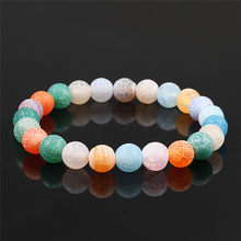 Trend Candy Color 8mm Weathered Pearl Natural Beaded Stone bracelets & bangles men women elastic bracelet Jewelry gift Wholesale(China)