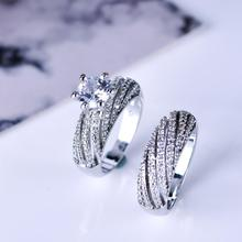 Luxury Couple Rings For Women Round Stone Cubic Zirconia Set Ring Bridal Wedding Engagement Fashion Jewelry цена и фото