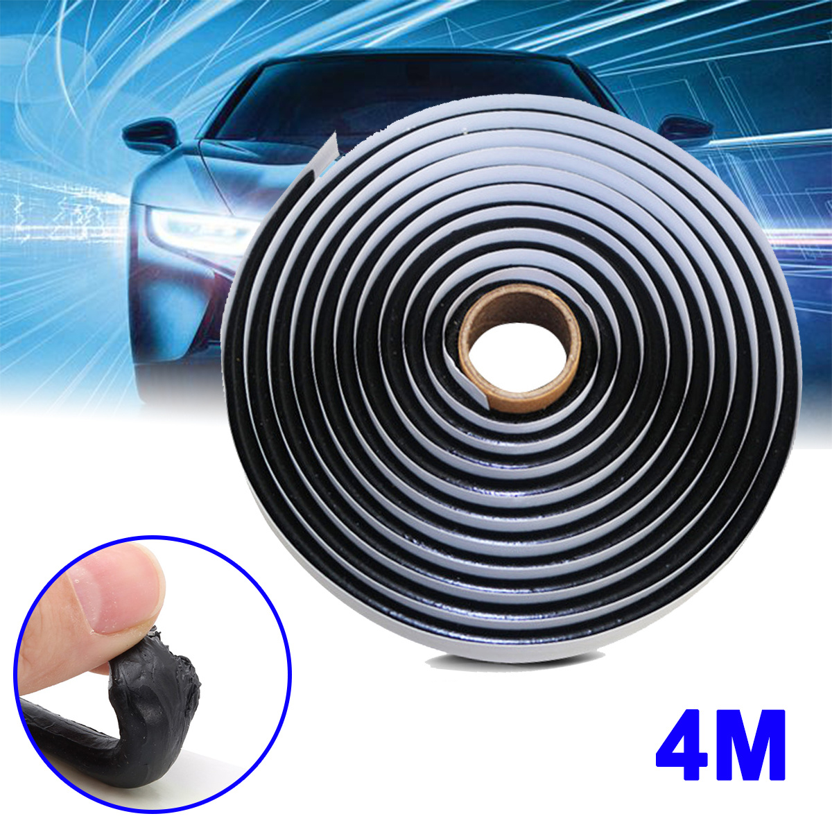 4M Black Butyl Rubber Glue Sealant Car Truck Headlight LED Retrofit Reseal Strip