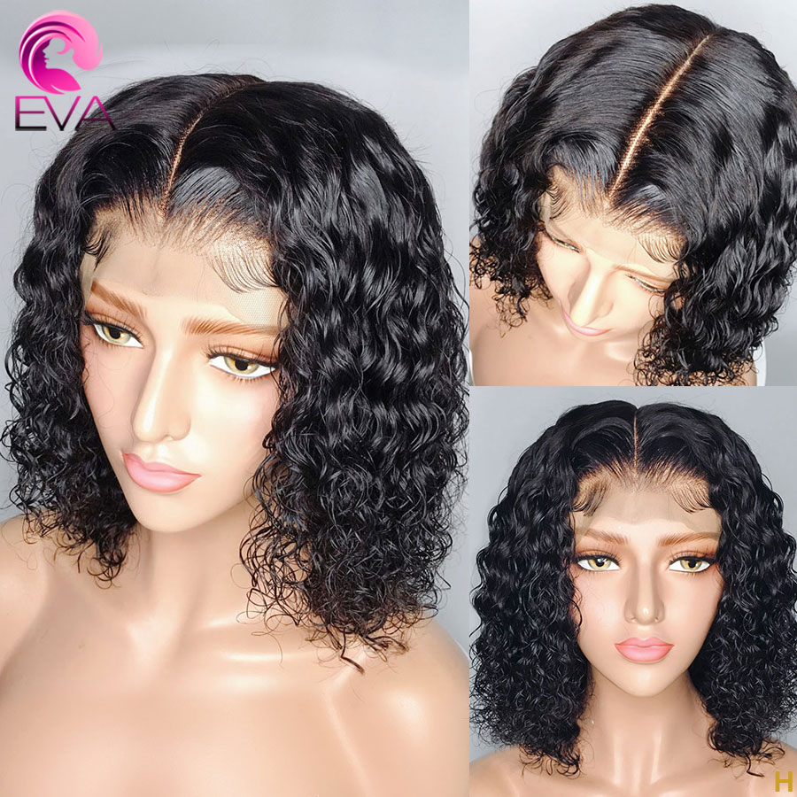 Eva Hair 360 Lace Frontal Human Hair Wigs Pre Plucked With Baby Hair Short Bob Curly Brazilian Remy Hair Wigs For Black Women