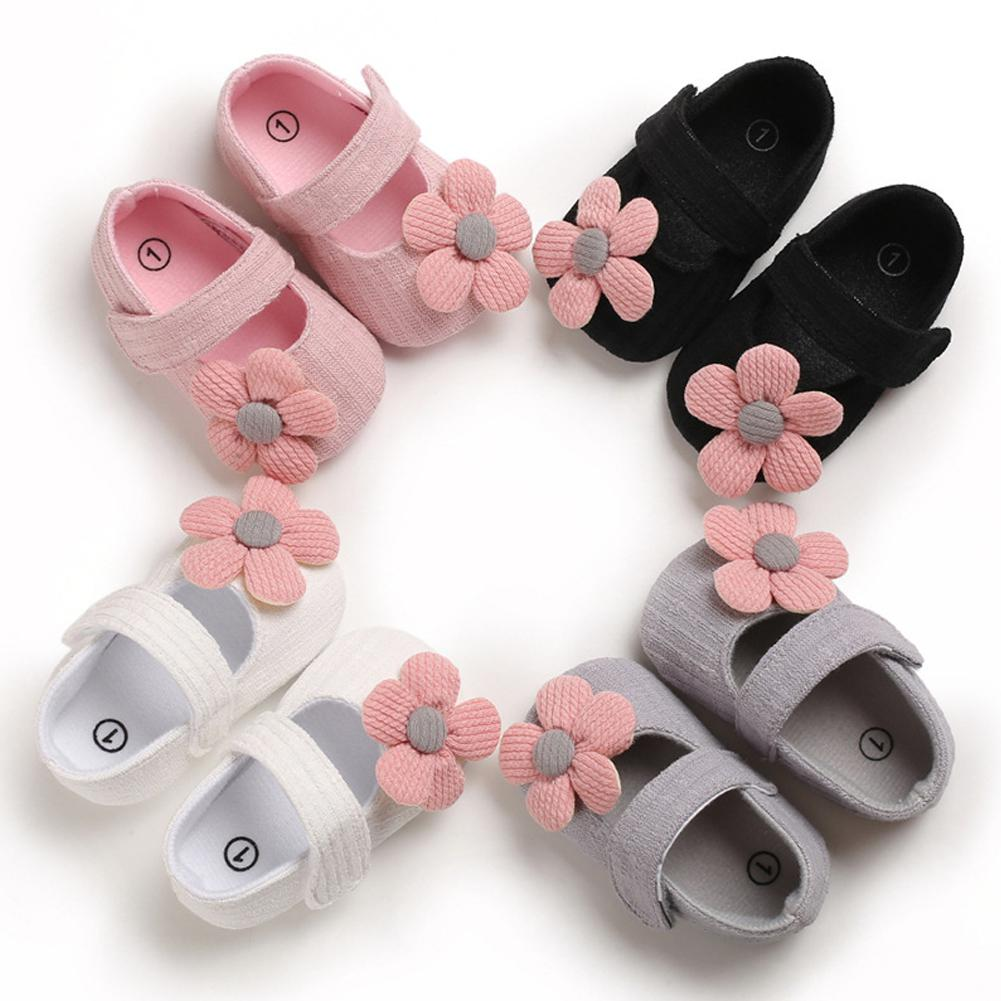 DishyKooker Cute Flower Soft Sole Non-Slip Prewalker Princess Shoes For Kids Baby Toddler Girls