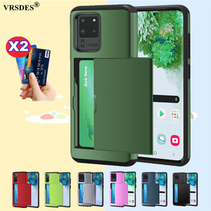 For Samsung Galaxy S20 Ultra S10E S9 S8 Plus S7 Edge Slide Armor Wallet Card Slots Holder Cover For Samsung Note 8 9 10 Plus 5G(China)