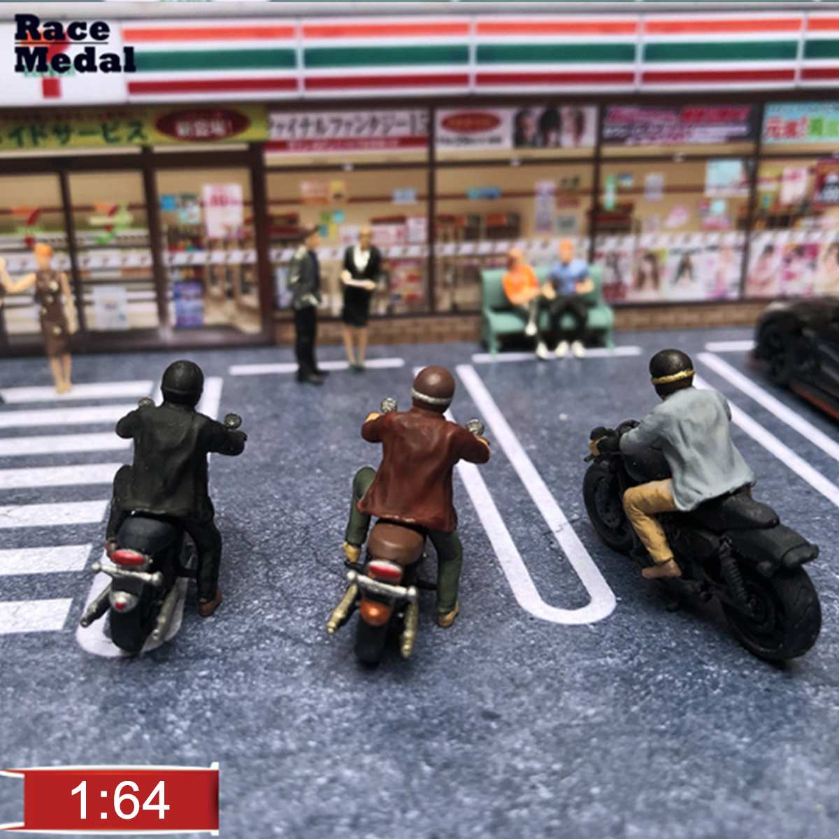 1:64 Scale Mini Colorful Diorama Motorcycle Model Character Model Doll Scene For Race Medal Matchbox