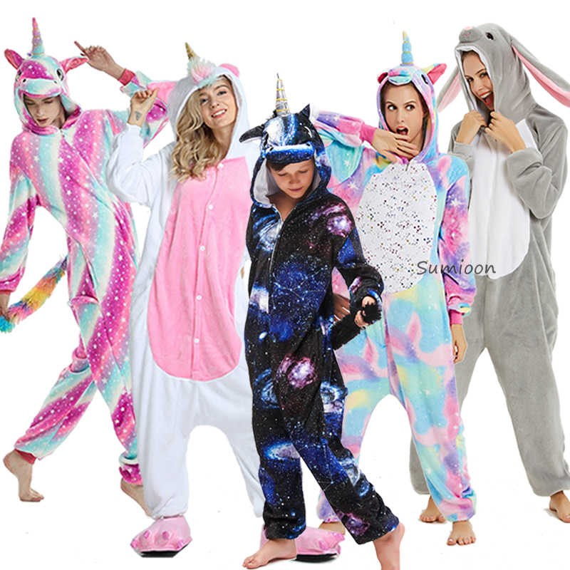 Meisjes Jongens Winter Kigurumi Pyjama Eenhoorn Cartoon Anime Animal Rompers Kids Nachtkleding Flanel Warme Jumpsuit Kinderen Pyjama