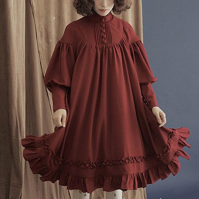 Gothique robe lolita femmes manches longues col ample dentelle lanterne manches mignon petite robe douce lolita