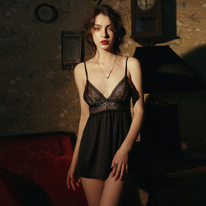 Image 4 - Sexy Lingerie Womens Thin Section Ice Silk Perspective Backless Passion Lace Sling Nightdress Nightgowns Women Sleeping Dress