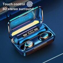 F9 5 אלחוטי אוזניות Bluetooth 5.0 אוזניות IPX7 עמיד למים אוזניות מגע מפתח אוזניות עובד על כל אנדרואיד iOS טלפונים חכמים
