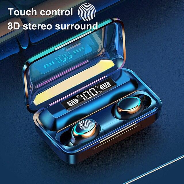 F9 5 auricolare senza fili Bluetooth 5.0 cuffie IPX7 auricolari impermeabili Touch Key auricolari funziona su tutti gli smartphone Android iOS