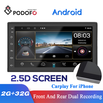 Podofo Auto Stereo 8 Core DSP Android 2 Din Car Radio GPS Navigation Multimedia Player Carplay For VW Toyota Nissian Kia Hyundai image