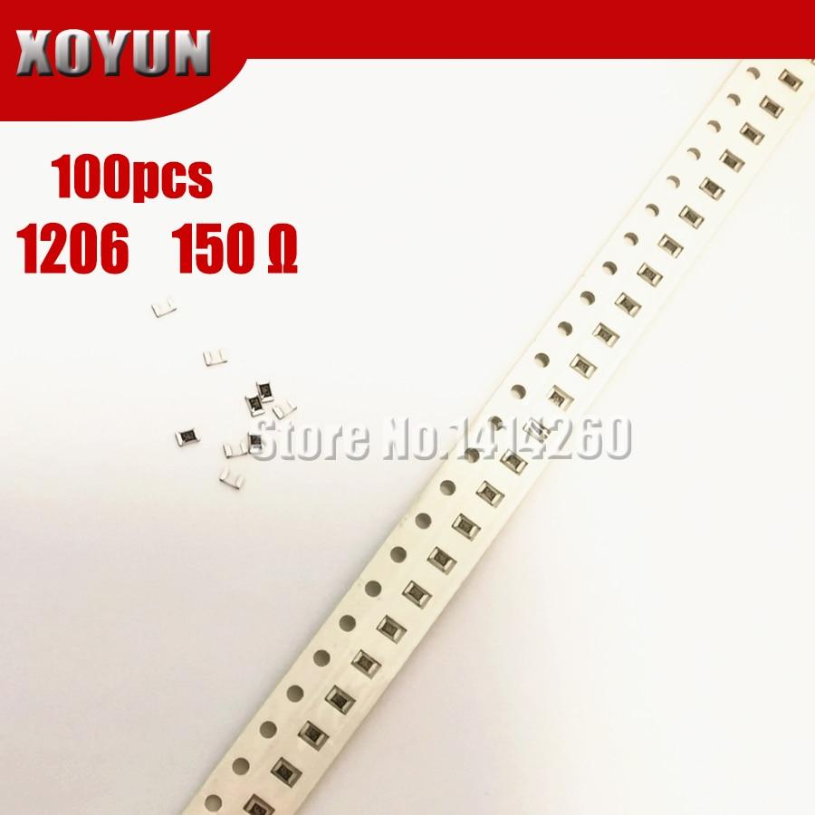 100 шт. 1206 SMD резистор 1% 150 Ом чиповый резистор 0,25 Вт 1/4 Вт 150R 151