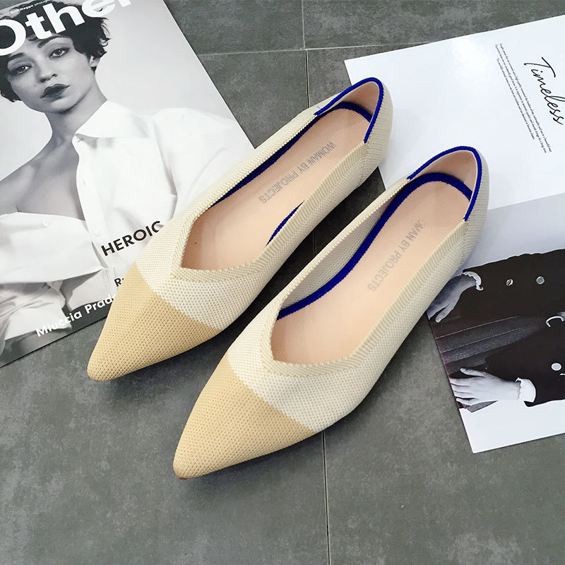 Casual Fashion Comfortable Pointed Toe Flat Shoes Women New Mesh Slip on Shoes for Women Ladies Flats Knitted Loafers VT667 (7)