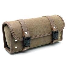 Motorcycle PU Leather Vintage Front Toolkit Bag Saddlebag Round Barrel Saddle Tool Bag For Harley Honda Suzuki цена 2017
