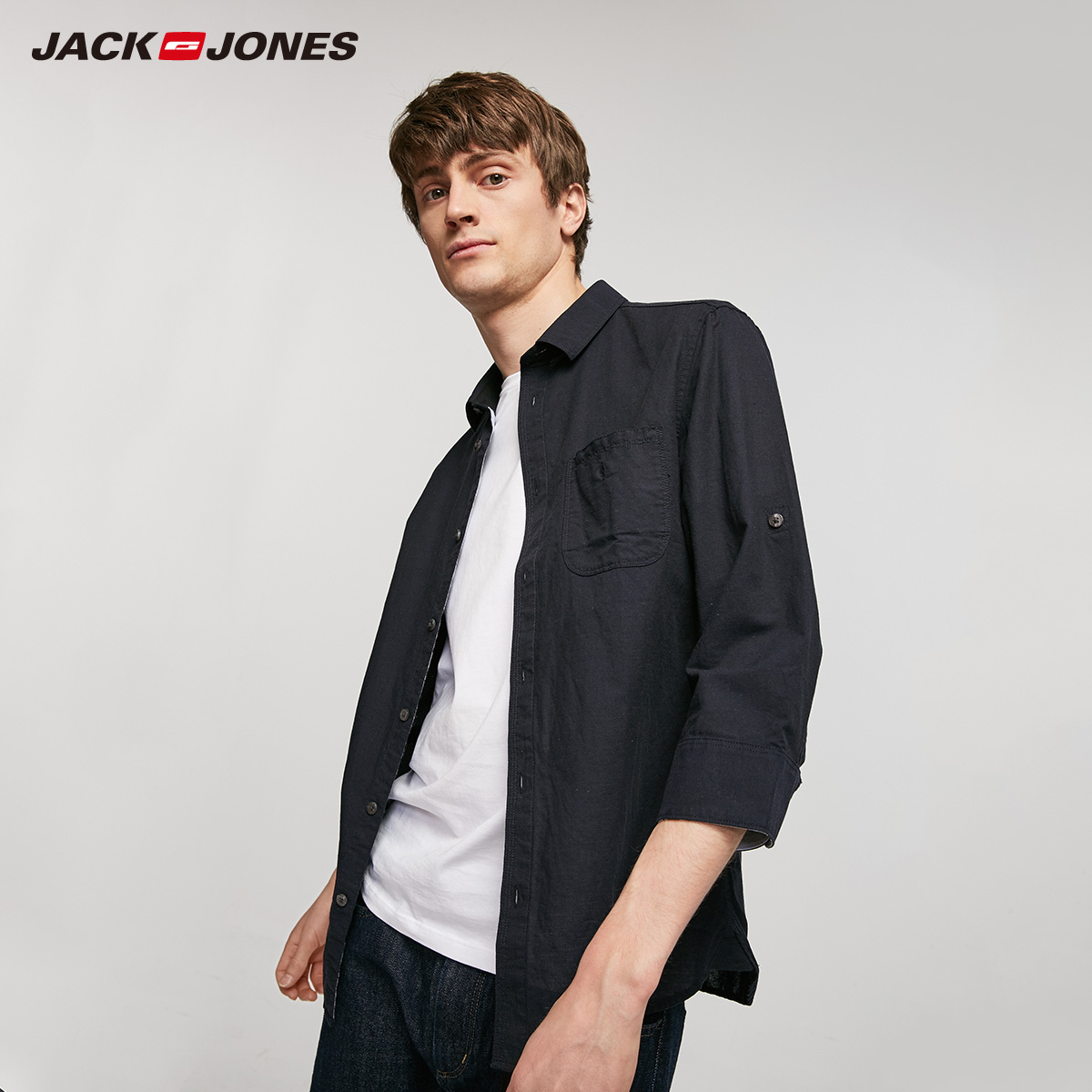 JackJones Men's Spring & Summer Cotton Linen Rolled-up 3/4 Sleeves Style Shirt| 219231503