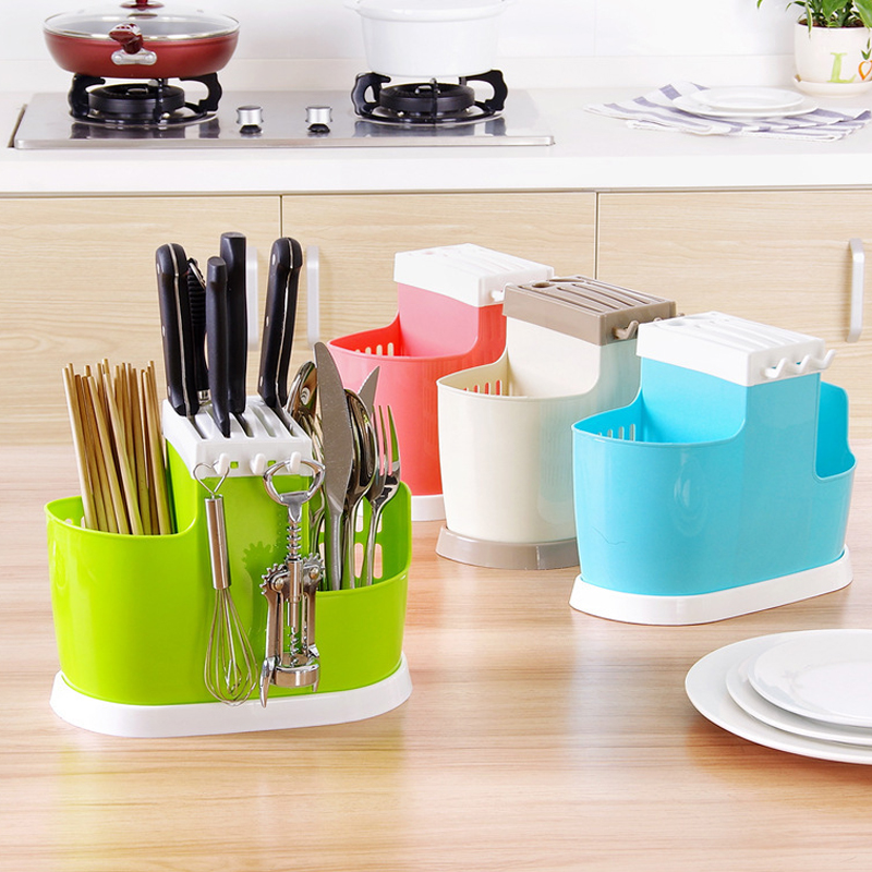 1 Pcs Multifunction Plastic Shelving Dish Chopsticks Cutlery Storage Rack Drain Holder Strainer Stand Creative Kitchen Tools