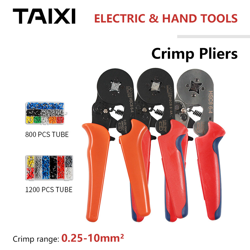 Small-Wire-Crimping-Tool Square Round Copper Tube Crimping Tool Set Suit Tubular Terminal Crimping Tools 23-7AWG 6-4A/6-6A