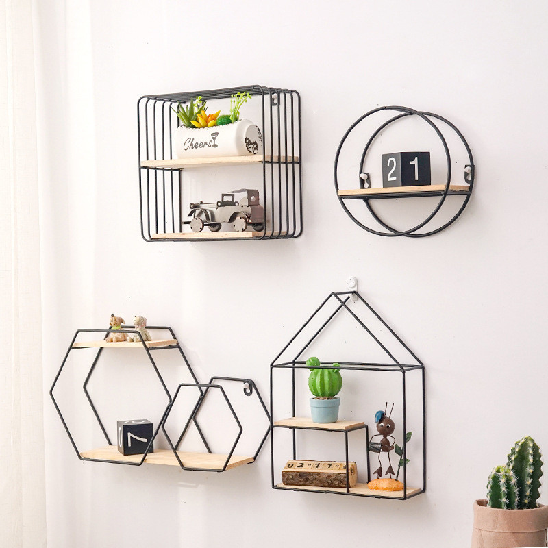 Wooden Gold Storage Racks Hanging Decor Storage Box Flower Pot House Storage Rack Wall Book Figurines Display Crafts Shelves