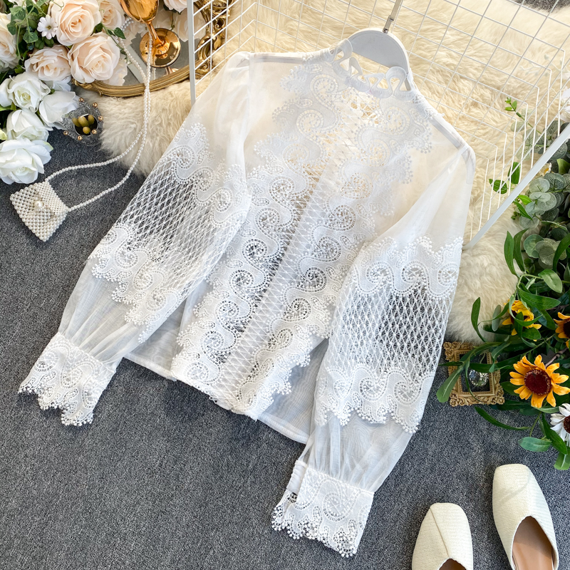 White Black Long Lantern Sleeve Lace Hollow Out Stand Collar Blouse Shirt 6