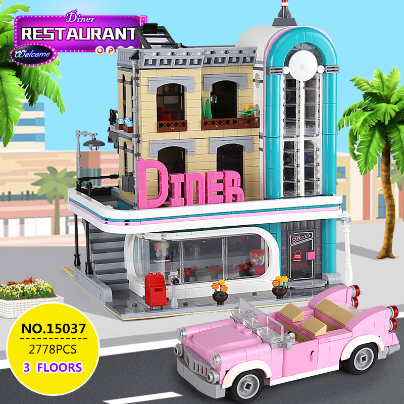 City Creator Street Downtown Diners 15037 Compatible Lepining 10260 Street View Model Building Blocks Bricks Kids Education Toys