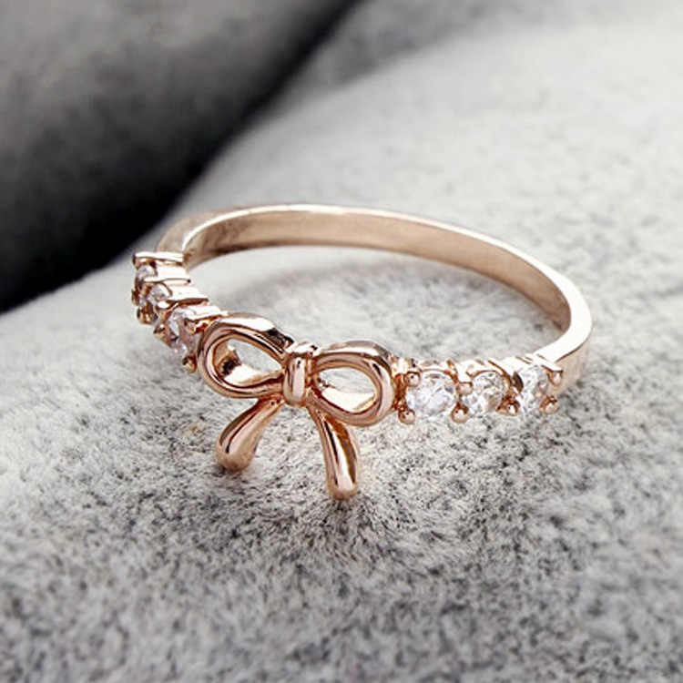 Simple bow female ring New small fresh ring ornament
