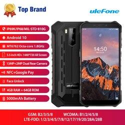 4 Гб 64 Гб Ulefone Armor X5 Pro Android 10 смартфон NFC 4G LTE прочный для мобильного телефона водонепроницаемый IP68 MT6762 сотовый телефон Восьмиядерный
