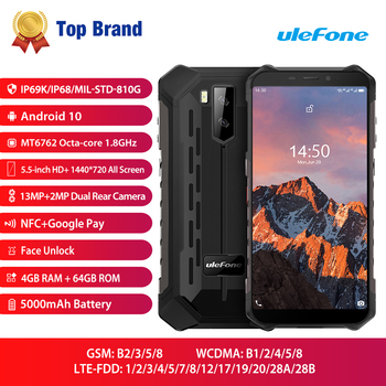 4GB 64GB Ulefone Armor X5 Pro Android 10 Smartphone NFC 4G LTE Mobile Phone Rugged Waterproof IP68 MT6762 Cell Phone Octa core blackview bv9100 6 3 13000mah nfc ip68 rugged shockproof smartphone android 9 0 4gb 64gb octa core fast charge 4g mobile phone