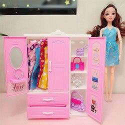 Мебель для куклы барби, трехдверный розовый современный гардероб для armario, аксессуары с 10 вешалками, мебель для барби