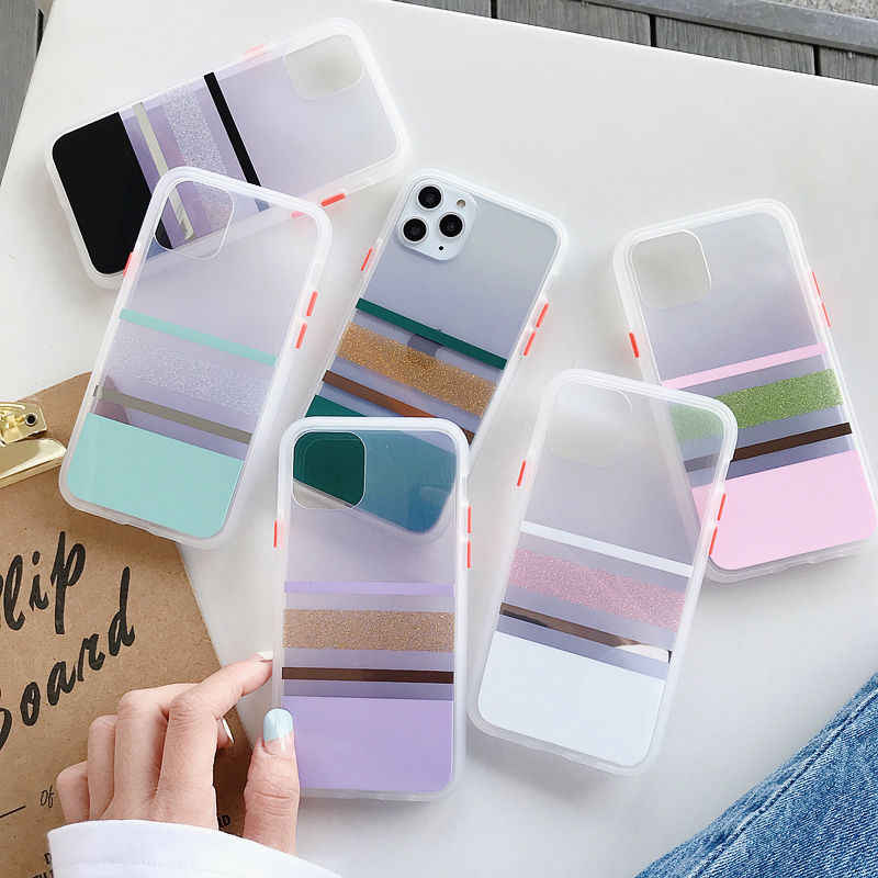 Bumper Shockproof Matte Case For iPhone 11 Pro Max XR XS Max X 8 7 6S Plus Electroplated Transparent Hard PC Case For iPhone 11