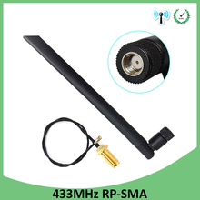 цена на 10pcs 433Mhz Antenna 5dbi GSM 433 mhz RP-SMA Connector Rubber Lorawan antenna+ IPX to SMA Male Extension Cord Pigtail Cable