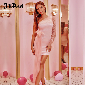 Image 1 - JillPeri Mesh One Shoulder Flare Mini Dress Women Puff Sleeve Solid Draped Daily Outfit Elegant Celebrity Party Little Dress