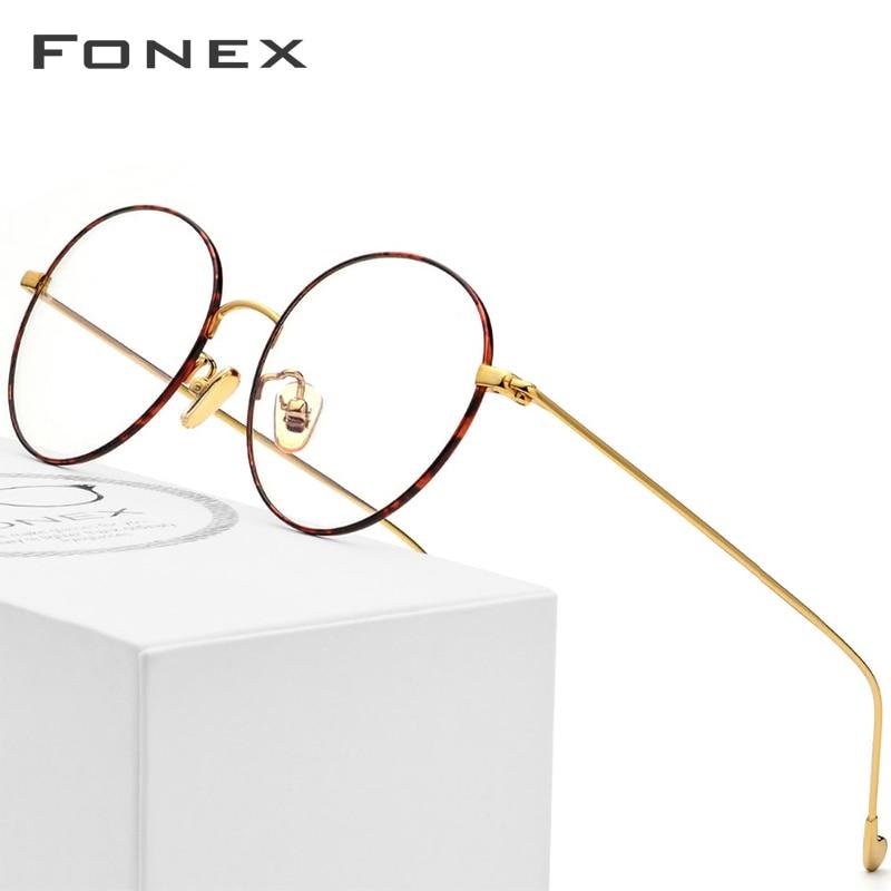 Pure Titanium Glasses Frame Men Round Prescription Eyeglasses Eyewear Vintage Retro Myopia Optical Eye Glasses Women Spectacles